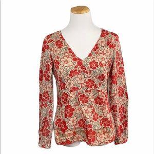 LOFT Floral Print Empire Waist Long Sleeve Side Zip V-Neck Blouse